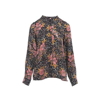 china collar flower blouse multi